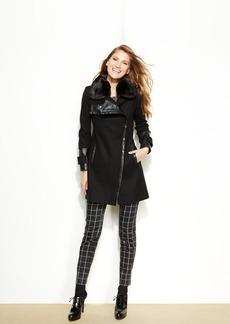 Via Spiga Petite Faux-Fur Faux-Leather-Trimmed Coat