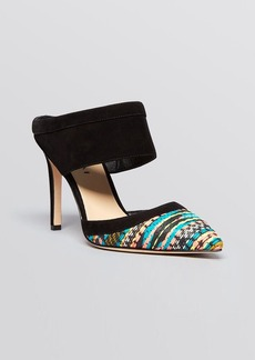 Via Spiga Pointed Toe Mule Slide Pumps - Dahlia 2 Printed High Heel