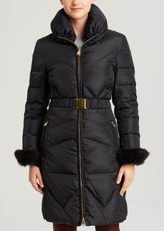 Via Spiga Puffer Coat - Zip Front Belted Faux Fur Cuff