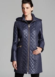 Via Spiga Quilted Coat - Zip Front Hooded