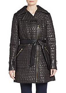 Via Spiga Quilted Crocodile-Effect Jacket