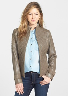Via Spiga Quilted Lambskin Leather Jacket