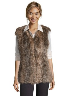 Via Spiga raccoon faux fur collarless vest