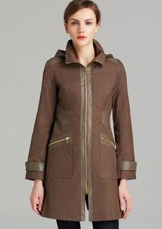 Via Spiga Rain Coat - Hooded Soft Shell with Faux Leather