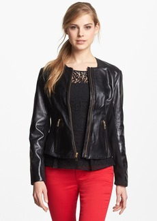 Via Spiga Ribbed Side Leather Jacket (Regular & Petite) (Online Only)
