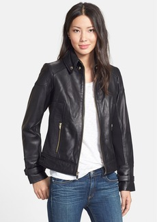 Via Spiga Ruched Side Leather Jacket (Online Only)