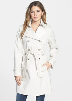 Via Spiga Tape Trim Double Breasted Trench Coat