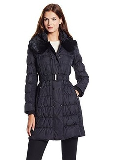 Via Spiga Women's Belted Down Coat with Slimming Side Details