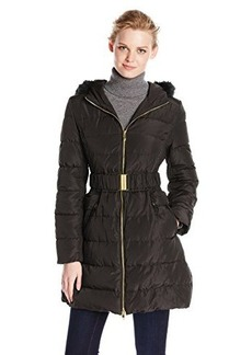 Via Spiga Women's Belted Long Down Coat with Faux-Fur-Trimmed Hood