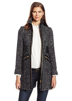 Via Spiga Women's Chic Wool Walking Coat with Gold Hardware