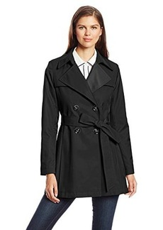Via Spiga Women's Double-Breasted Trench Coat with Pleated Hem