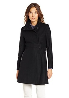 Via Spiga Women's Funnel Neck Wool Coat with Leather Trim