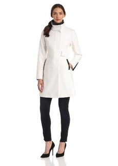 Via Spiga Women's Funnel Neck Wool Coat with Leather Trim