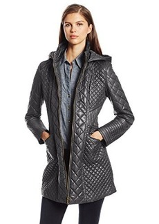 Via Spiga Women's Long Zip-Front Hooded Coat