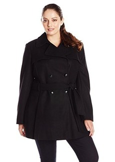 Via Spiga Women's Plus-Size Double-Breasted Wool-Blend Trench Coat with Tie Belt