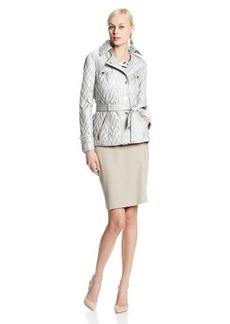 Via Spiga Women's Snap-Front Chevron Quilted Jacket with Belt