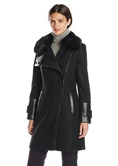 Via Spiga Women's Wool Coat with Ultra Soft Faux Fur Collar
