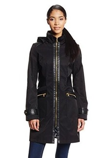 Via Spiga Women's Zip Front Soft-Shell Rain Jacket with Hood