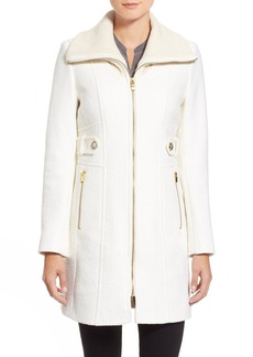 Via Spiga Knit Collar Zip Front Coat