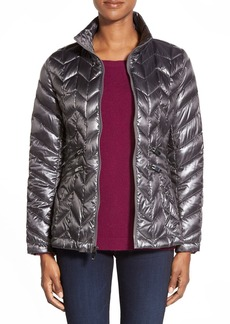 Via Spiga Packable Chevron Quilted Down Jacket