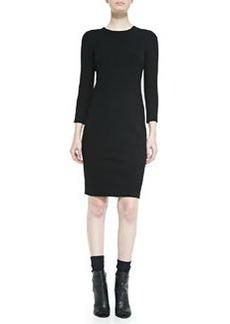 3/4-Sleeve Boucle Sheath Dress, Black   3/4-Sleeve Boucle Sheath Dress, Black