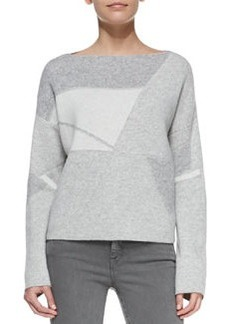 Abstract Patchwork Boat-Neck Sweater   Abstract Patchwork Boat-Neck Sweater