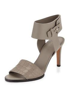 Vince Antonia Mid-Heel Leather Sandal, Pewter