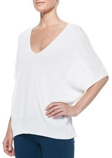 Batwing-Sleeve Double-V Popover Sweater, Optic White   Batwing-Sleeve Double-V Popover Sweater, Optic White
