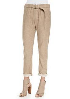 Belted Soft Knit Cuffed Pants   Belted Soft Knit Cuffed Pants