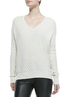 Brick-Pattern V-Neck Sweater, Winter White   Brick-Pattern V-Neck Sweater, Winter White