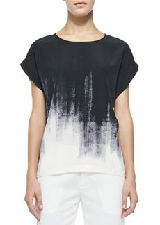 Brushstroke-Print Silk Tee, Off White/Black   Brushstroke-Print Silk Tee, Off White/Black
