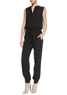 Button-Front Drawstring Crepe Jumpsuit, Black   Button-Front Drawstring Crepe Jumpsuit, Black