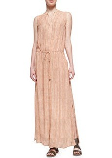 Button-Front Silk Maxi Dress, Coral   Button-Front Silk Maxi Dress, Coral