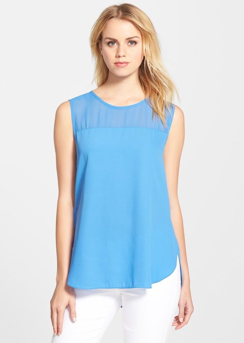Vince camuto vince camuto chiffon yoke sleeveless blouse for Vince tee shirts sale