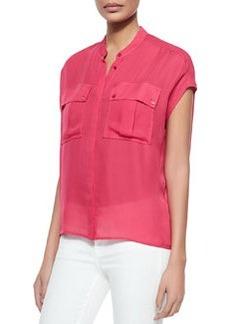 Cap-Sleeve Silk Pocket Blouse   Cap-Sleeve Silk Pocket Blouse