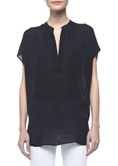 Cap-Sleeve Silk Popover Blouse, Black   Cap-Sleeve Silk Popover Blouse, Black