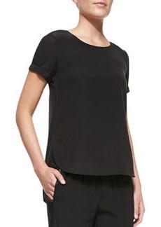 Cap-Sleeve Silk-Yoke Shirttail Tee, Black   Cap-Sleeve Silk-Yoke Shirttail Tee, Black