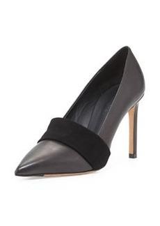 Carmel Leather Suede-Band Pump, Black   Carmel Leather Suede-Band Pump, Black