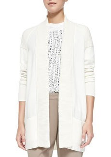 Cashmere-Blend Shawl Cardigan, Off White   Cashmere-Blend Shawl Cardigan, Off White