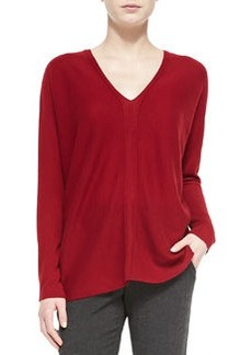 Cashmere Ladder-Stitch V-Neck Sweater   Cashmere Ladder-Stitch V-Neck Sweater