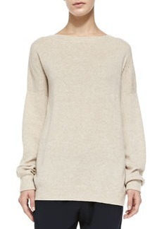 Cashmere Rib-Trim Loose Sweater   Cashmere Rib-Trim Loose Sweater