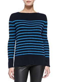 Cashmere Ribbed Striped Sweater, Coastal/Ocean   Cashmere Ribbed Striped Sweater, Coastal/Ocean