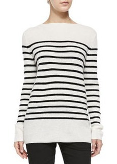 Cashmere Striped Ribbed Sweater, Off White/Black   Cashmere Striped Ribbed Sweater, Off White/Black