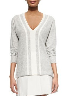 Cashmere Two-Tone V-Neck Sweater   Cashmere Two-Tone V-Neck Sweater