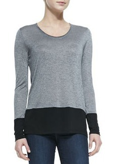 Colorblock Long-Sleeve Tee, Heather Gray/Black   Colorblock Long-Sleeve Tee, Heather Gray/Black