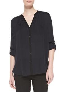 Contrast-Trim Silk Blouse, Coastal/Black   Contrast-Trim Silk Blouse, Coastal/Black