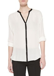 Contrast-Trim Silk Blouse, Off White/Black   Contrast-Trim Silk Blouse, Off White/Black