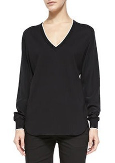 Contrast-Trim Silk-Sleeve Top   Contrast-Trim Silk-Sleeve Top
