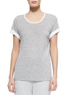 Contrast-Trim Slub Tee, Gray/Off White   Contrast-Trim Slub Tee, Gray/Off White