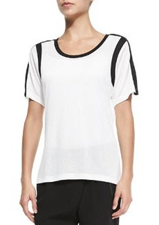 Contrast-Trim Slub Top, Bone/Black   Contrast-Trim Slub Top, Bone/Black